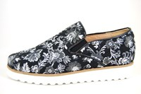 Stravers Slip Ons - black floral in large sizes