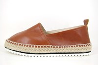Leather ladies espadrilles - brown in large sizes