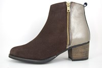 Brown ankle boots mid heels in small sizes