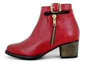 Red leather ankle boots in small sizes