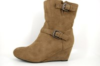 Wedge halfhigh boots - tabacco in small sizes