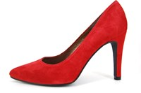 Pointy heels - red suede in small sizes