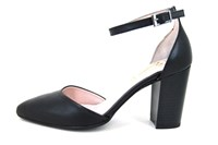 Pumps with ankle strap - black... in large sizes