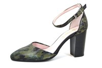Camouflage pumps with ankle strap... in large sizes