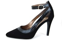 Black heels with ankle straps in large sizes