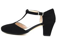 T-strap heels - black in large sizes