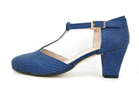 T-strap pumps - blue in large sizes