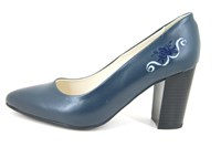 Embroidered heels - blue in large sizes