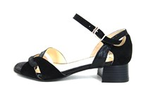 Exclusive sandals low heel - black in large sizes