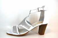 Women's White Heeled Sandals in small sizes