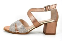 Mid heel sandals - metalic champagne in small sizes