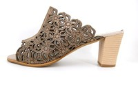 Mule heeled sandals - taupe in small sizes