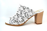 Chic white mules with heels... in small sizes