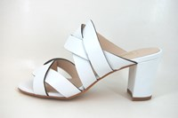 Exclusive Mule Sandals with Heels - white leather