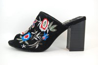 Black Floral Embroidered Heel Mules in large sizes
