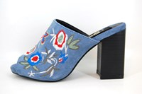 Floral Embroidered Mules - jeans blue in large sizes