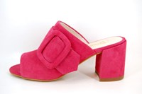 Mules buckles with heels - pink in large sizes