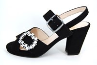 Designer Sandals with Heels - black in small sizes