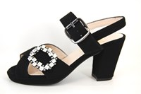 Designer Sandals with Heels - black.. in large sizes