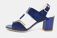 Sandals with thick heel - blue in large sizes