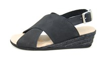 Wedge crossband sandals black in large sizes