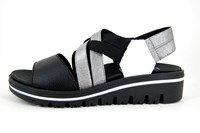 Espadrilles wedges black leather in small sizes