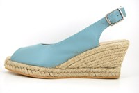 Espadrilles wedges blue leather in large sizes