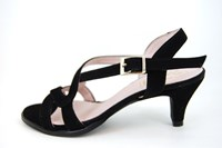Kitten Heel Sandals - black in large sizes