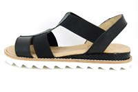 Black elastic leather sandals