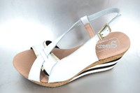 Luxury wedge sandals - white in large sizes