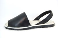 Leather Menorquinas - black in large sizes