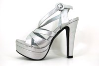 Silver platform sandals heels in small sizes