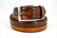Luxury leather men's belt - Two Tone brown