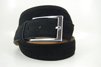 Black suede mens belt in  sizes