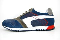 Sportive leather mens sneakers - blue in small sizes