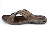 Soft Leather Slippers with Cross Straps - brown in large sizes