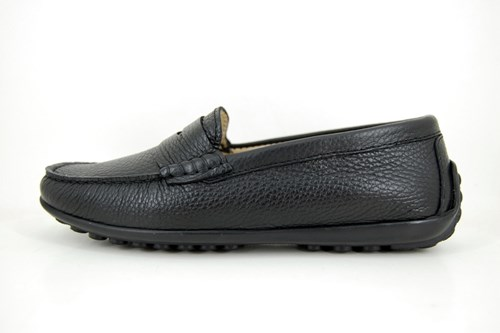Stravers black leather loafers ladies