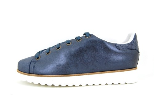 Womens metallic lace up shoes - blue