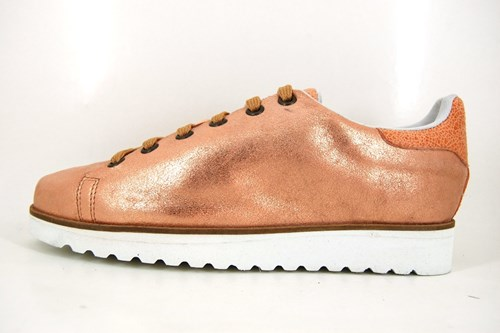 Womens metallic lace up shoes - Copper