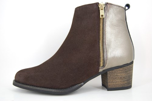 Brown ankle boots mid heels