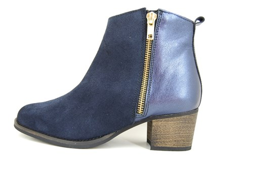 Blue ankle boots mid heels