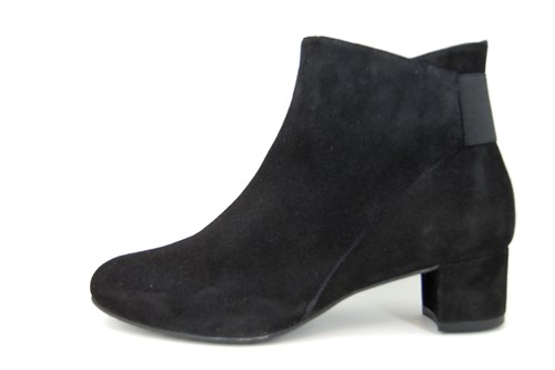 Black soft suede short boots with low heels