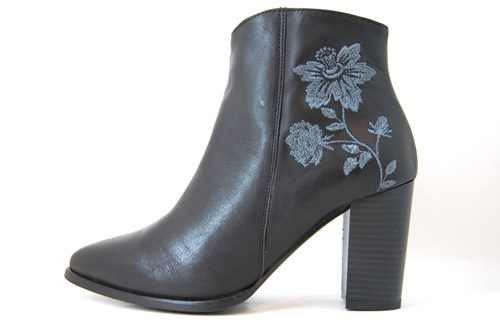 Floral Ankle Boots - black