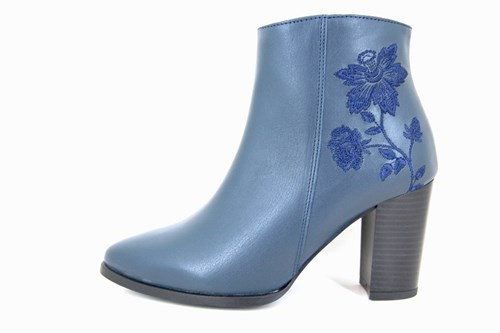 Floral Ankle Boots - blue