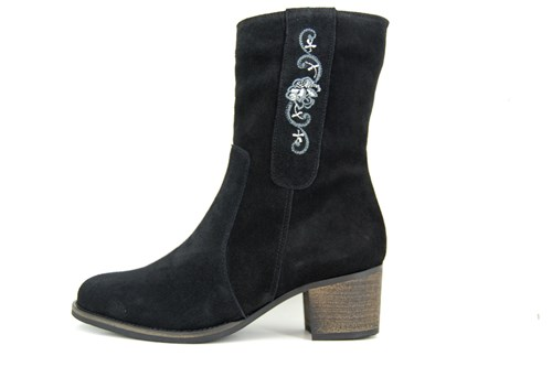 Black suede Embroidery boots