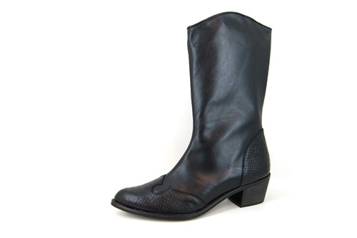 Western Boots with Heel and Zipper - black