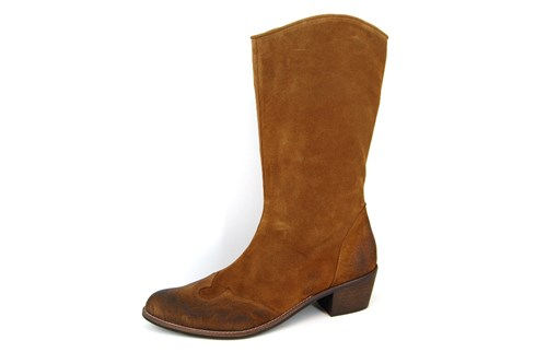 Cowboy Boots with Heel and Zipper - brown suede