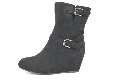Wedge halfhigh boots - black