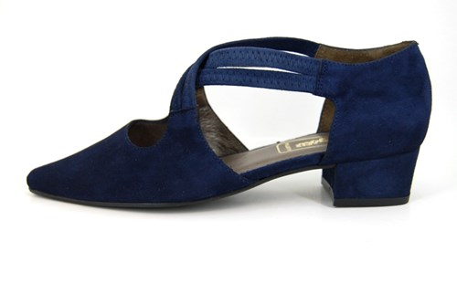Cross strap shoes low heel - blue