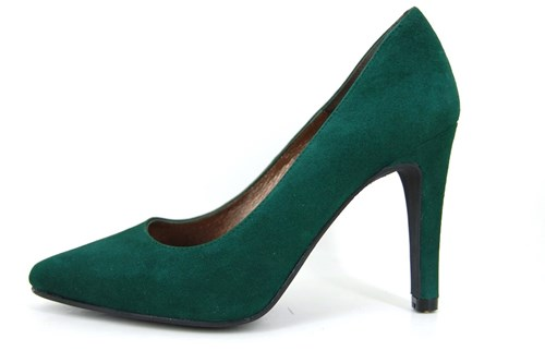 Pointy heels - green suede